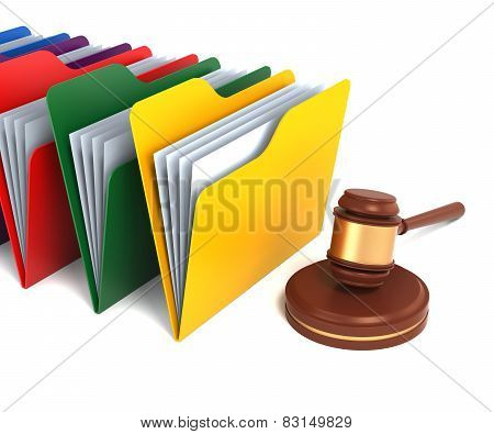 Multicolor Folders With Gavel