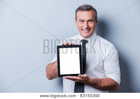 Copy Space On His Tablet.