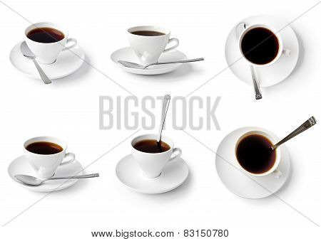 Collection Of Cups Of Coffee Isolated On White