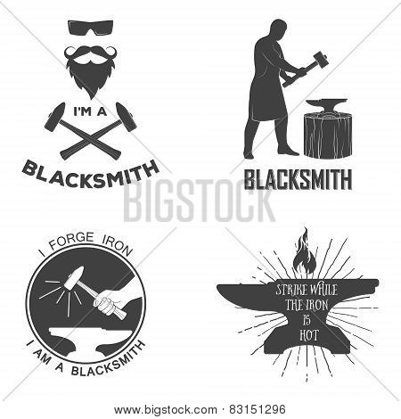 Vintage Monochrome Blacksmith Badges And Design Elements For T-shirt Print.