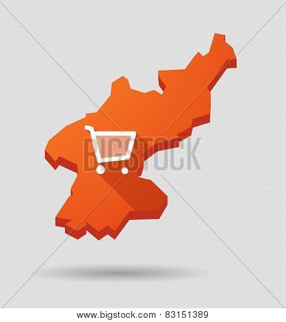 North  Korea Map With A Shopping Cart
