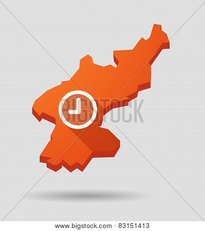 North  Korea Map With A Clock