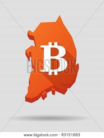 Korea Map With A Bitcoin Sign