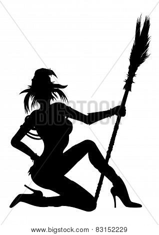 Witch Girl Striptease Silhouette