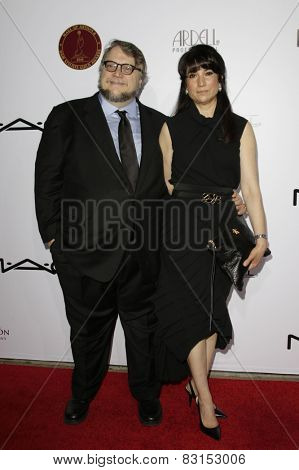 LOS ANGELES - FEB 14: Guillermo del Toro, Lorenza Newton at the Make-Up Artists & Hair Stylists Guild Awards at the Paramount Theater on February 14, 2015 in Los Angeles, CA