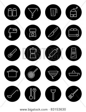 Cooking utensils and appliances Vector Line Icons Collection. Set of 20 kitchen and cooking related line icons in black circles.