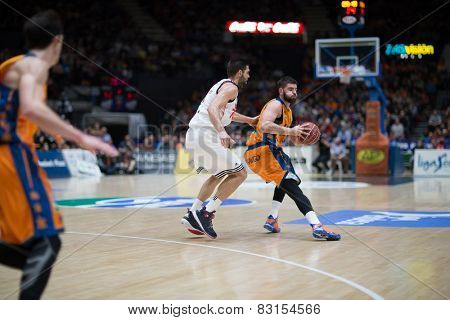 VALENCIA, SPAIN - FEBRUARY 15: Dubljevic with ball during Spanish League match between Valencia Basket Club and Real Madrid at Fonteta Stadium on February 15, 2015 in Valencia, Spain
