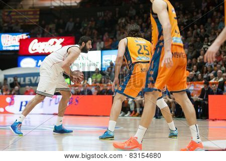 VALENCIA, SPAIN - FEBRUARY 15: Borousis during Spanish League match between Valencia Basket Club and Real Madrid at Fonteta Stadium on February 15, 2015 in Valencia, Spain