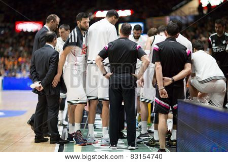 VALENCIA, SPAIN - FEBRUARY 15: Madrid Team during Spanish League match between Valencia Basket Club and Real Madrid at Fonteta Stadium on February 15, 2015 in Valencia, Spain