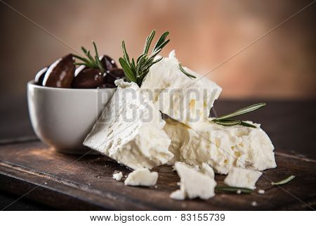 Greek cheese feta, still-life.
