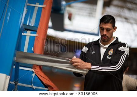 VALENCIA, SPAIN - FEBRUARY 15: Ayon during Spanish League match between Valencia Basket Club and Real Madrid at Fonteta Stadium on February 15, 2015 in Valencia, Spain