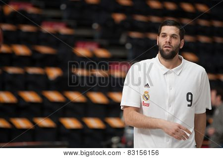 VALENCIA, SPAIN - FEBRUARY 15: Reyes during Spanish League match between Valencia Basket Club and Real Madrid at Fonteta Stadium on February 15, 2015 in Valencia, Spain