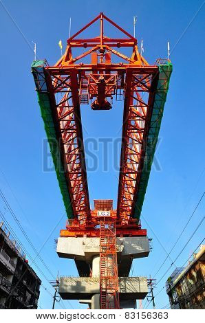 The steel structure of railway bridge