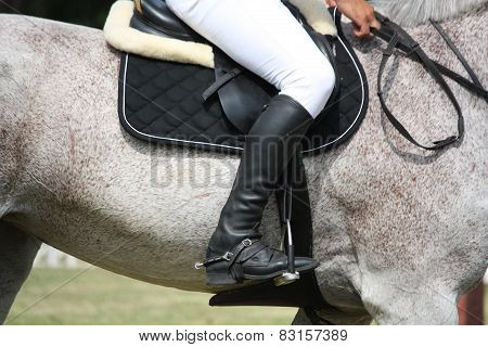 Close Up Of Sportsman Sitting On The Horse
