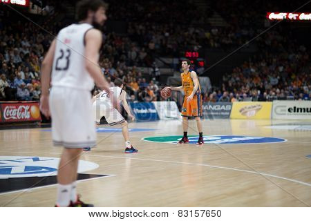 VALENCIA, SPAIN - FEBRUARY 15: Vives with ball during Spanish League match between Valencia Basket Club and Real Madrid at Fonteta Stadium on February 15, 2015 in Valencia, Spain