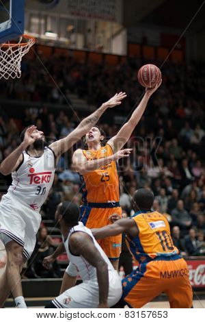 VALENCIA, SPAIN - FEBRUARY 15: Loncar with ball during Spanish League match between Valencia Basket Club and Real Madrid at Fonteta Stadium on February 15, 2015 in Valencia, Spain
