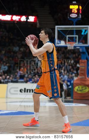 VALENCIA, SPAIN - FEBRUARY 15: Lucic during Spanish League match between Valencia Basket Club and Real Madrid at Fonteta Stadium on February 15, 2015 in Valencia, Spain