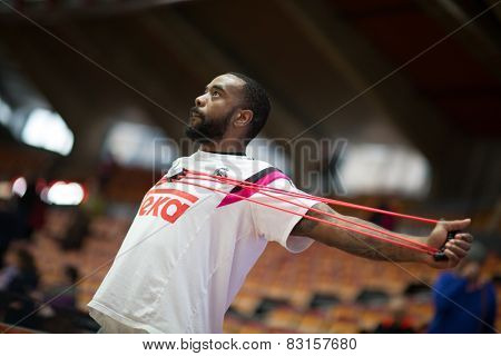 VALENCIA, SPAIN - FEBRUARY 15: Rivers during Spanish League match between Valencia Basket Club and Real Madrid at Fonteta Stadium on February 15, 2015 in Valencia, Spain