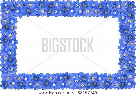 Frame made of blue flowers