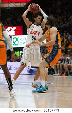 VALENCIA, SPAIN - FEBRUARY 15: Mejri during Spanish League match between Valencia Basket Club and Real Madrid at Fonteta Stadium on February 15, 2015 in Valencia, Spain