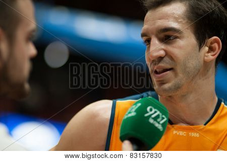 VALENCIA, SPAIN - FEBRUARY 15: Ribas during Spanish League match between Valencia Basket Club and Real Madrid at Fonteta Stadium on February 15, 2015 in Valencia, Spain