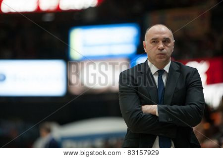 VALENCIA, SPAIN - FEBRUARY 15: Pablo Laso Madrid coach during Spanish League match between Valencia Basket Club and Real Madrid at Fonteta Stadium on February 15, 2015 in Valencia, Spain