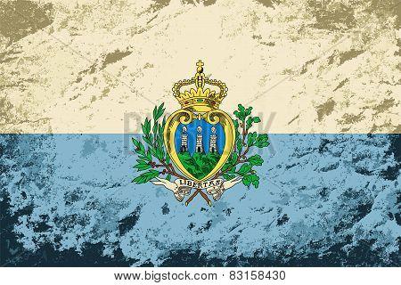 San Marino flag. Grunge background. Vector illustration