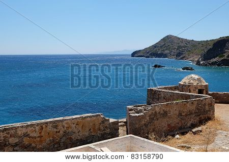 Landscape Of Crete Costline From Spinalonga Island.