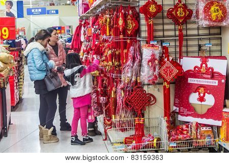 HUZHOU,CHINA - FEB 17: Supermarket shopping people on February 17th 2015 in Huzhou.The next day is the Chinese Lunar New Year,People prepare New Year.