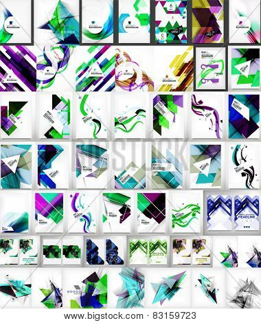 Vector mega set of abstract geometric backgrounds - waves, shapes, triangles and other