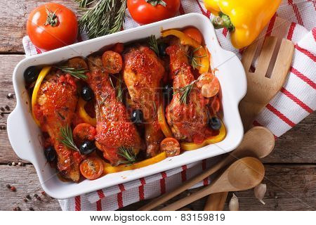 Chicken Legs In Tomato Sauce With Olives Horizontal Top View