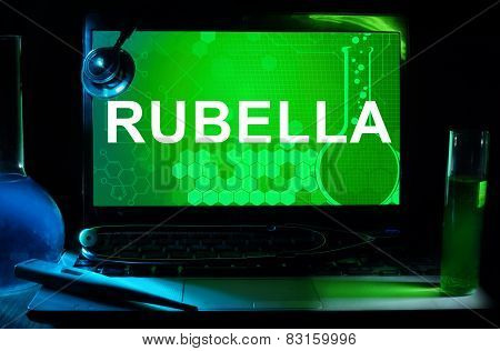 Computer with words Rubella.