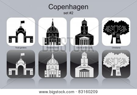Landmarks of Copenhagen. Set of monochrome icons. Editable vector illustration.