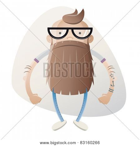funny cartoon hipster with beard and glasses