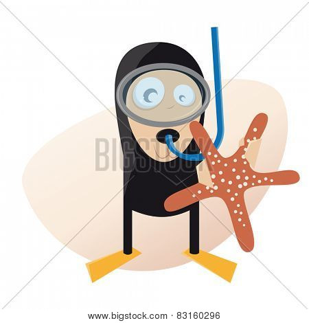 funny man in diving suit with starfish