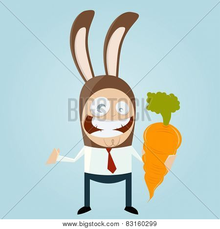funny businessman in bunny costume