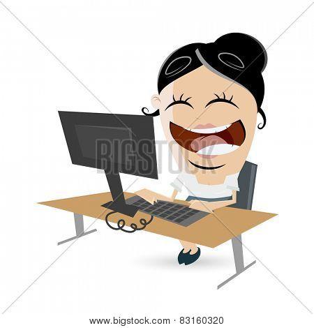 funny businesswoman sitting on desk