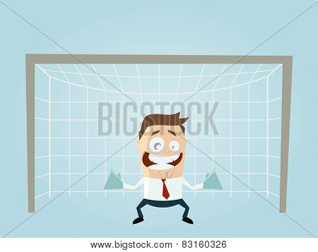 funny businessman is a goalkeeper