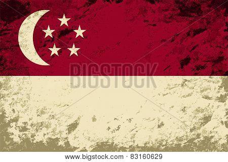Singapore flag. Grunge background. Vector illustration
