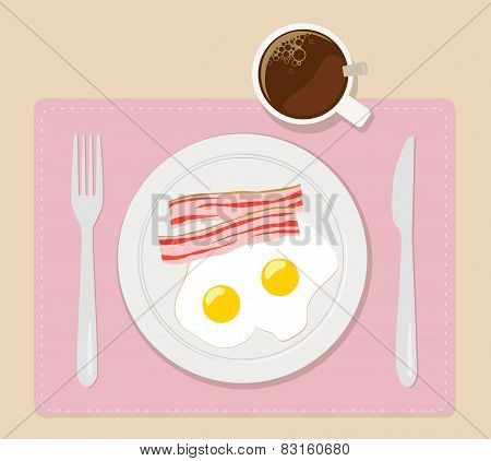 breakfast flat vector illustration eggs bacon and coffee