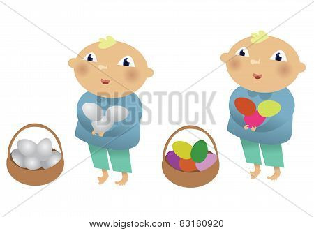 Boy with chicken eggs