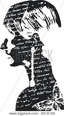 lady lettering texture