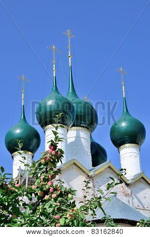 Nice cupola of christian church with apple brunch in front of it.