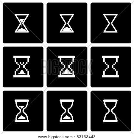 Vector black hourglass icon set