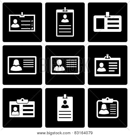 Vector black id card icon set