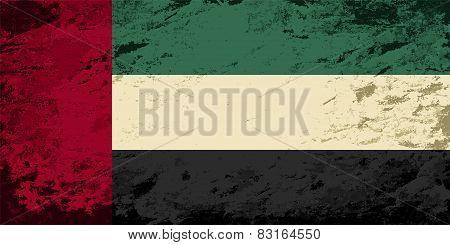 United Arab Emirates flag. Grunge background. Vector illustration