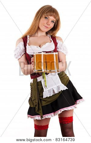 sexy waitress Oktoberfest with beer in hand