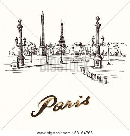 Place de la Concorde Paris - hand drawn illustration