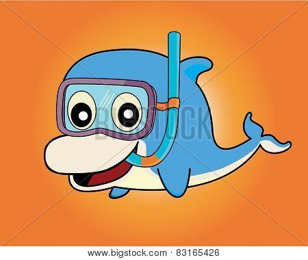 Dolphin snorkel diver , vector