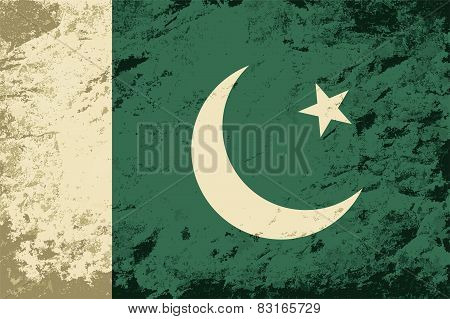 Pakistani flag. Grunge background. Vector illustration